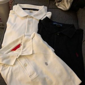 3 collared polo short sleeve button front M tshirt